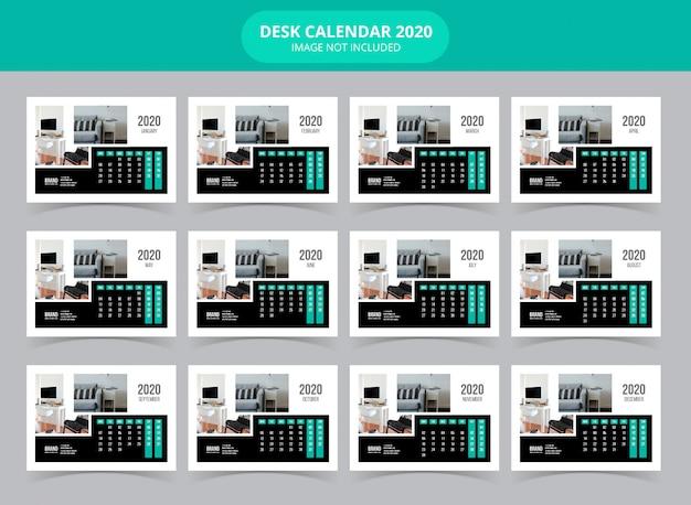 Modelo de calendário de mesa 2020