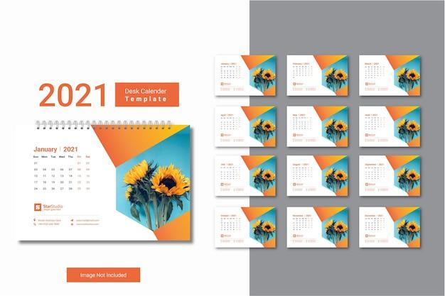 Modelo de calendário de mesa 2021 com design criativo