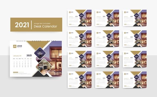 Modelo de calendário de mesa 2021 para empresa de negócios corporativos com design criativo