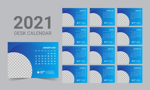 Modelo de calendário de mesa 2021