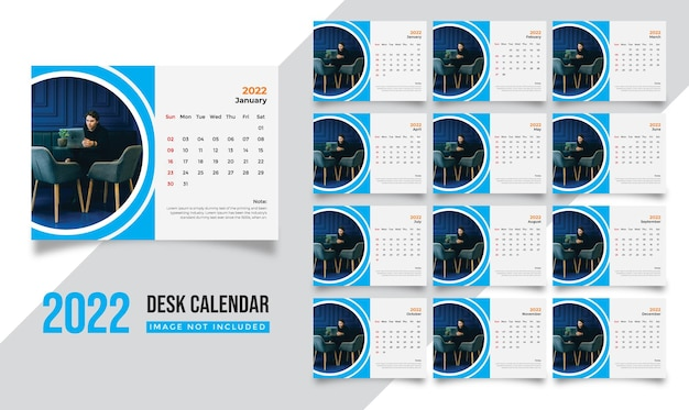 Modelo de calendário de mesa 2022 para empresa de negócios corporativos de ano novo moderno com design criativo