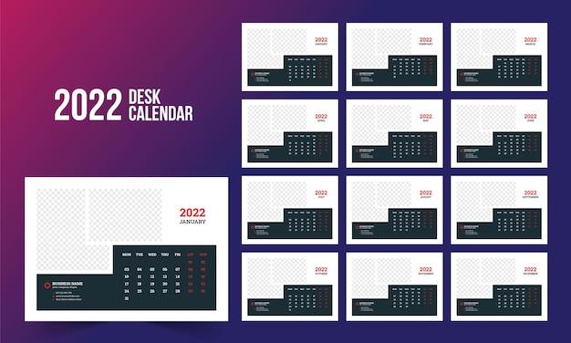 Modelo de calendário de mesa 2022
