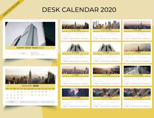 Modelo de calendário de mesa de 2020