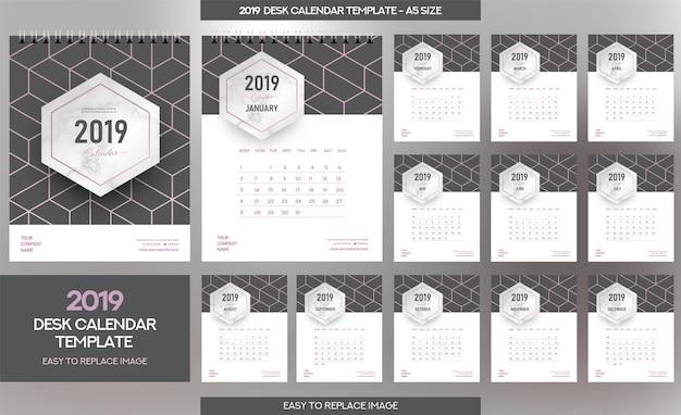 Modelo de calendário de mesa de mármore 2019