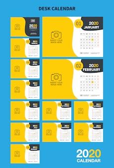 Modelo de calendário de mesa de parede para o ano de 2020. modelo de impressão de desenho vetorial