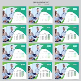 Modelo de calendário de mesa médica 2020
