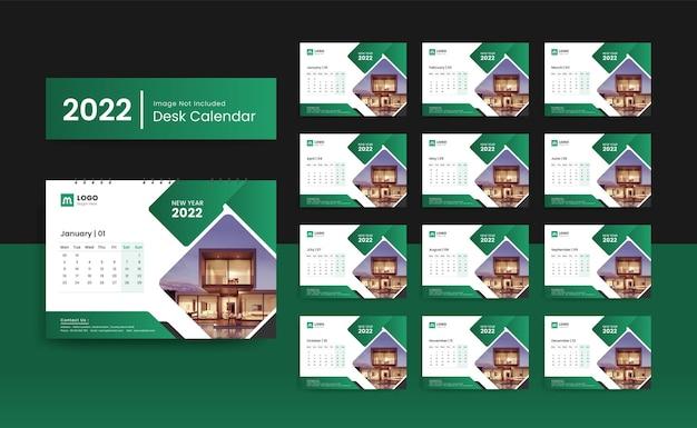 Modelo de calendário de mesa ou parede de ano novo 2022 com design criativo e minimalista para escritório corporativo