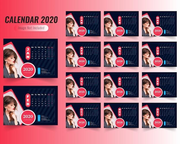 Modelo de calendário de moda 2020