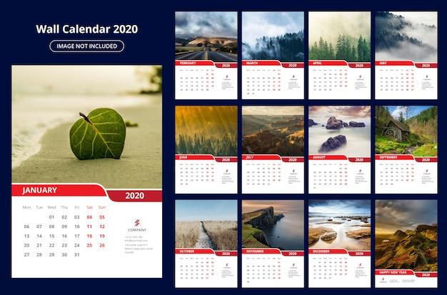 Modelo de calendário de parede 2020