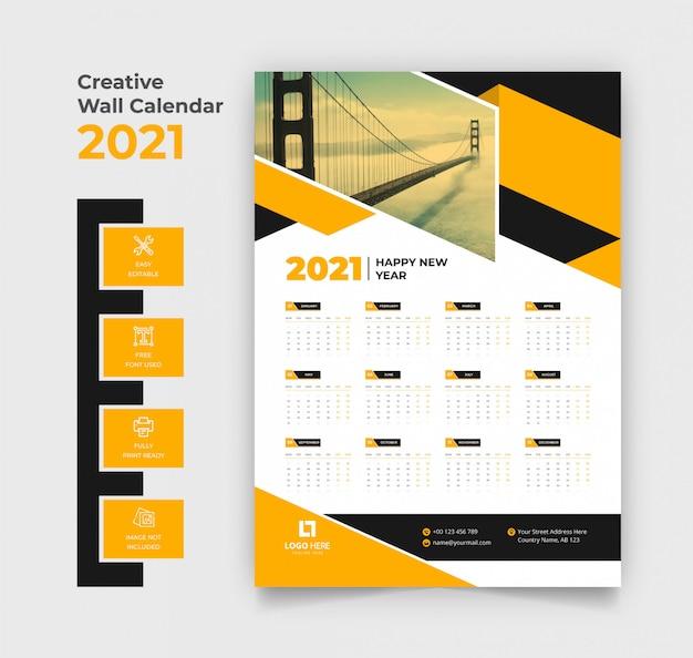 Modelo de calendário de parede 2021