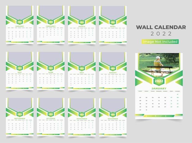 Modelo de calendário de parede 2022 para o ano novo