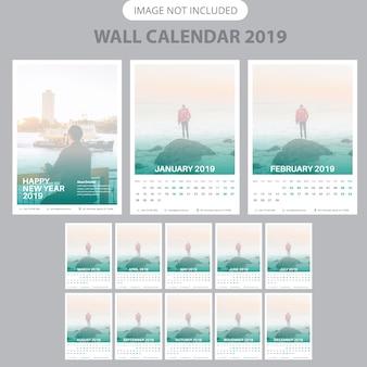 Modelo de calendário de parede de 2019