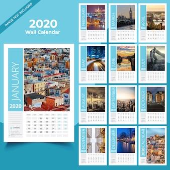 Modelo de calendário de parede de 2020