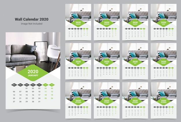 Modelo de calendário de parede interior 2020