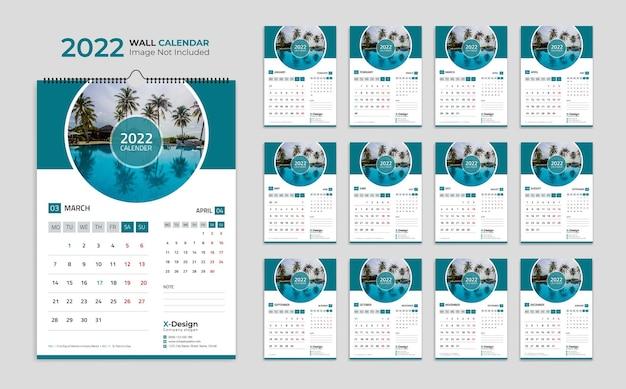 Modelo de calendário de parede para o ano novo 2022