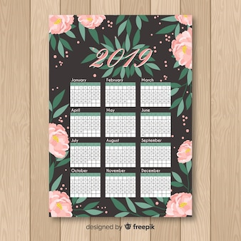 Modelo de calendário de peônias desenhada de mão