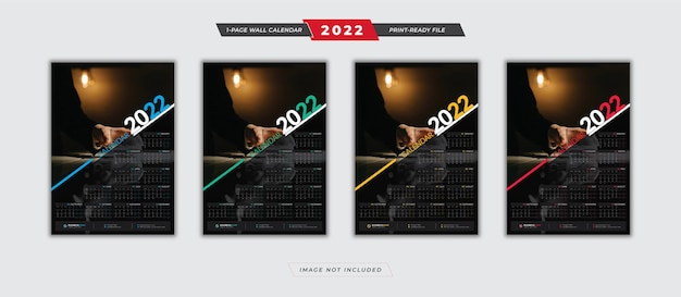 Modelo de calendário de pôster 2022 com design de 4 variações de cores