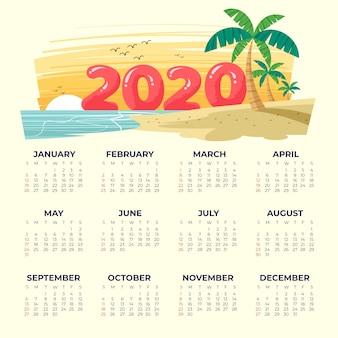 Modelo de calendário de praia 2020