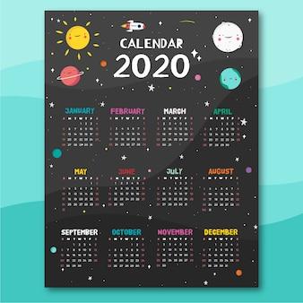 Modelo de calendário de tema de espaço