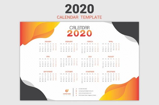 Modelo de calendário de uma página