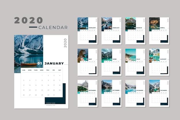 Modelo de calendário de viagens 2020