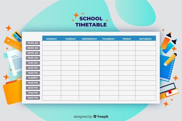 Modelo de calendário de volta às aulas
