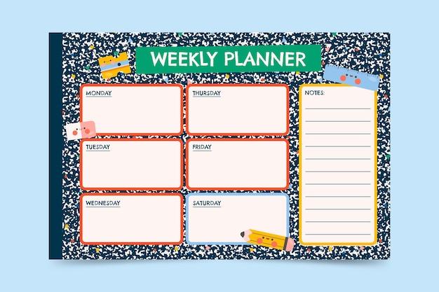 Modelo de calendário de volta às aulas Vetor Premium