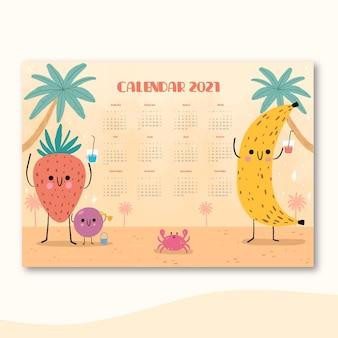 Modelo de calendário desenhado à mão para o ano novo 2021