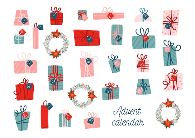 Modelo de calendário do advento. coleção de caixas presentes de natal coloridas de vetor com tags.