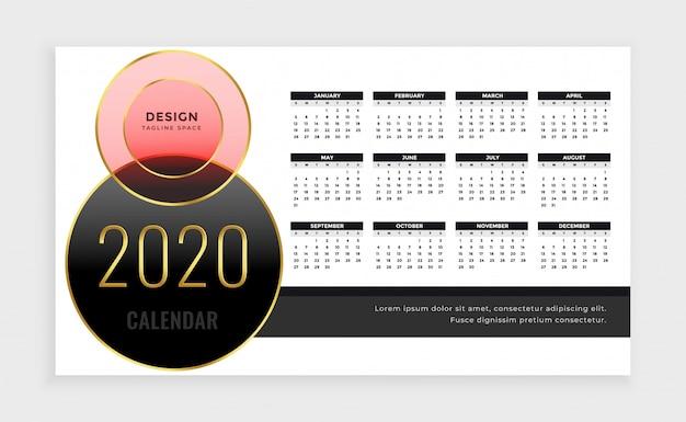 Modelo de calendário do ano 2020 em estilo de luxo
