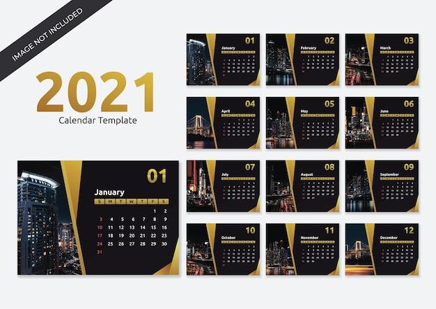 Modelo de calendário empresarial profissional 2021 em estilo geométrico dourado
