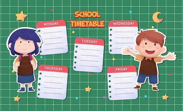 Modelo de calendário escolar aquarela com caráter de crianças