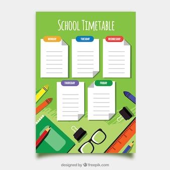 Modelo de calendário escolar com deisgn plana