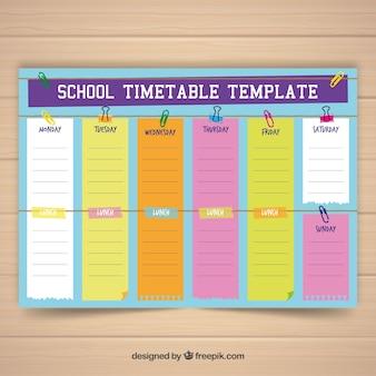 Modelo de calendário escolar com design plano