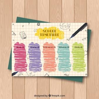 Modelo de calendário escolar com estilo desenhado de mão