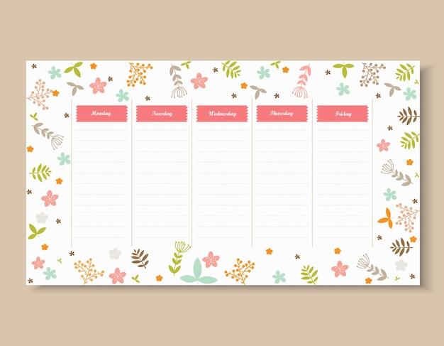 Modelo de calendário escolar com flor e folha.