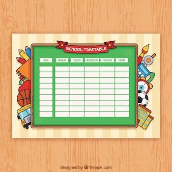 Modelo de calendário escolar com materiais desenhados à mão