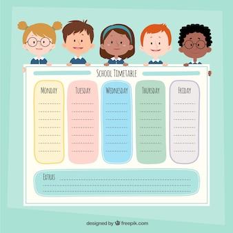 Modelo de calendário escolar com personagens de desenhos animados