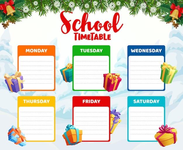 Modelo de calendário escolar com presentes de natal