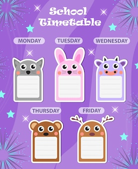 Modelo de calendário escolar semanal com elementos de design bonito. planejador de dias da semana para crianças. ilustração vetorial.