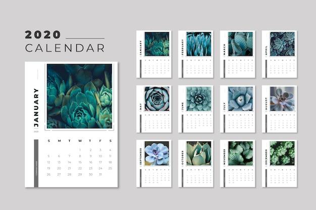 Modelo de calendário floral 2020