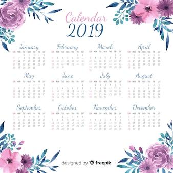 Modelo de calendário linda aguarela 2019