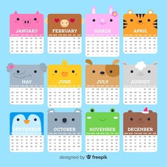 Modelo de calendário lindo 2019 com design plano
