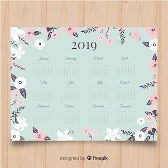 Modelo de calendário lindo 2019 com estilo floral