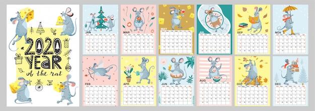 Modelo de calendário mensal 2020 com ilustrações de rato engraçado.