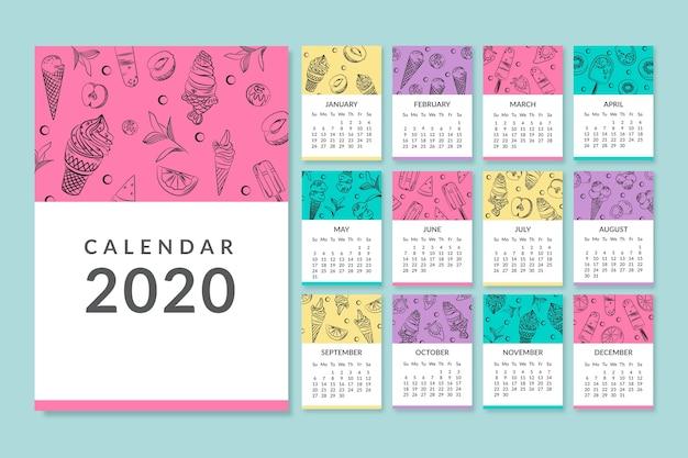 Modelo de calendário mensal colorido de 2020
