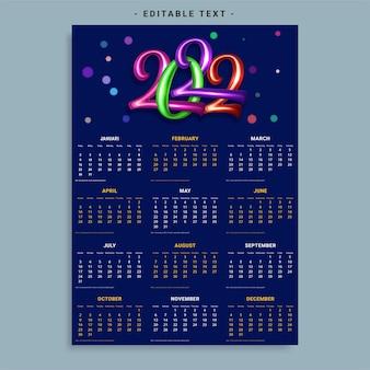 Modelo de calendário mensal para 2022 anos