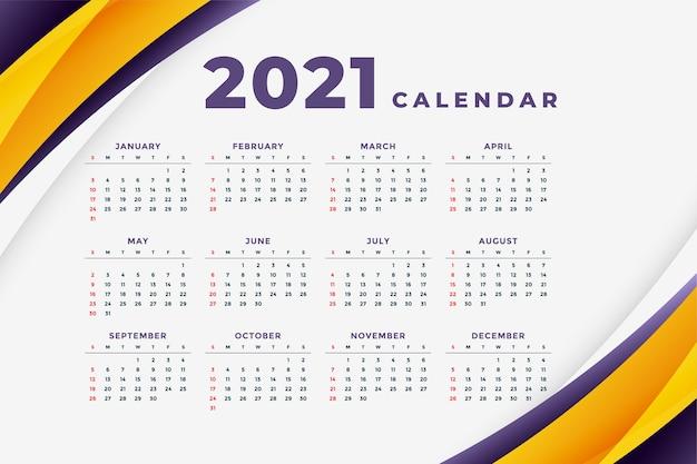 Modelo de calendário moderno abstrato de ano novo