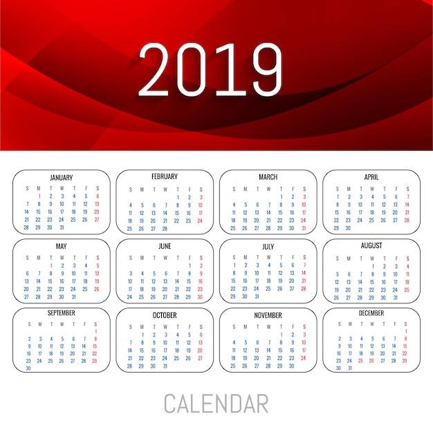 Modelo de calendário moderno de 2019 vermelho com vetor de onda