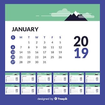 Modelo de calendário moderno de 2019